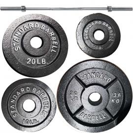 Ironman 225lb Olympic Weight Set Black with 86 Inch Olympic Weight Bar