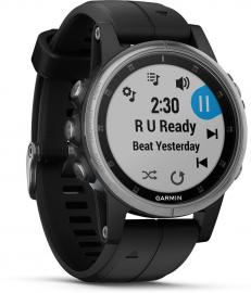 Garmin fenix 5S Plus Multisport GPS Watch, Silver/SLV/BLK