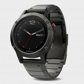 Garmin Fenix 5 Sapphire Multi-Sport GPS Watch With Metal Band, Dark Grey/Dark Grey