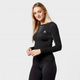 Odlo Women's Performance Warm Long Sleeve Base Layer Top, Black/Black
